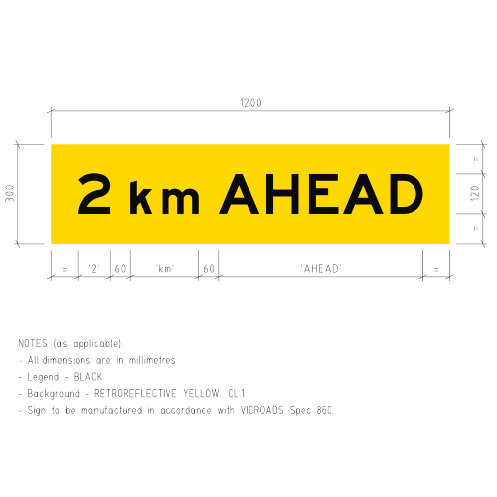 TM1-V110 2km Ahead Corflute Temporary Traffic Control