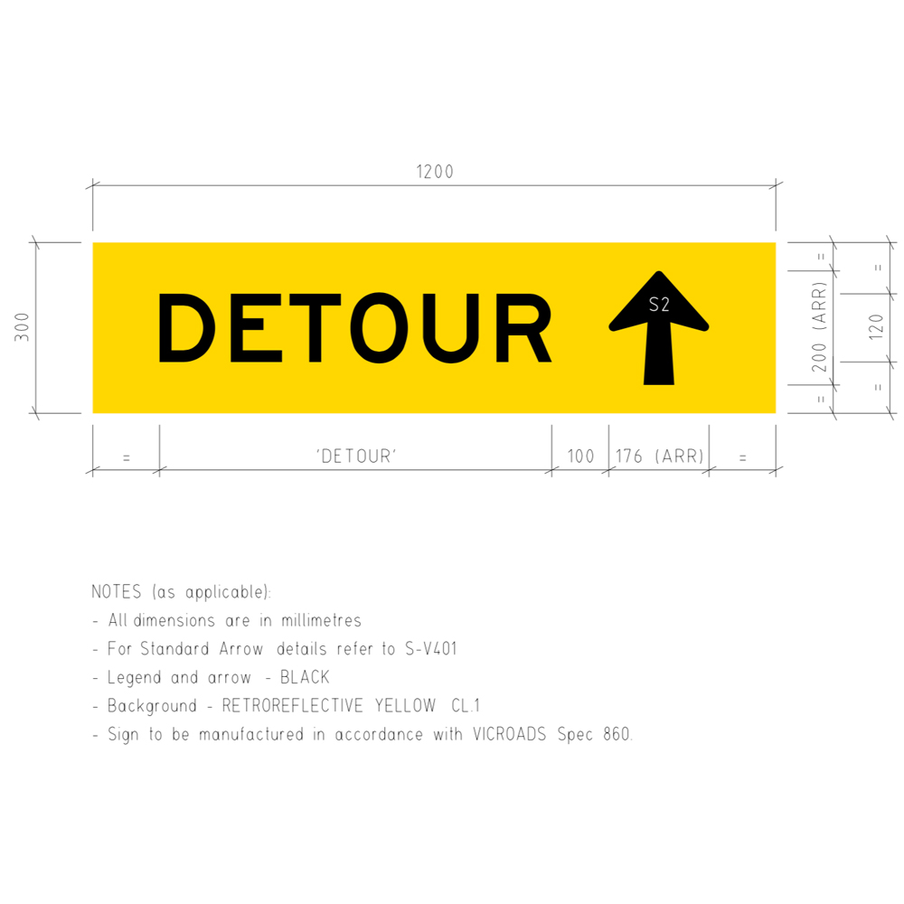 TM5-V1T Detour Ahead Corflute Temporary Traffic Control