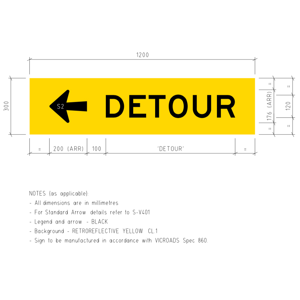 TM5-V1L Detour Left Corflute Temporary Traffic Control