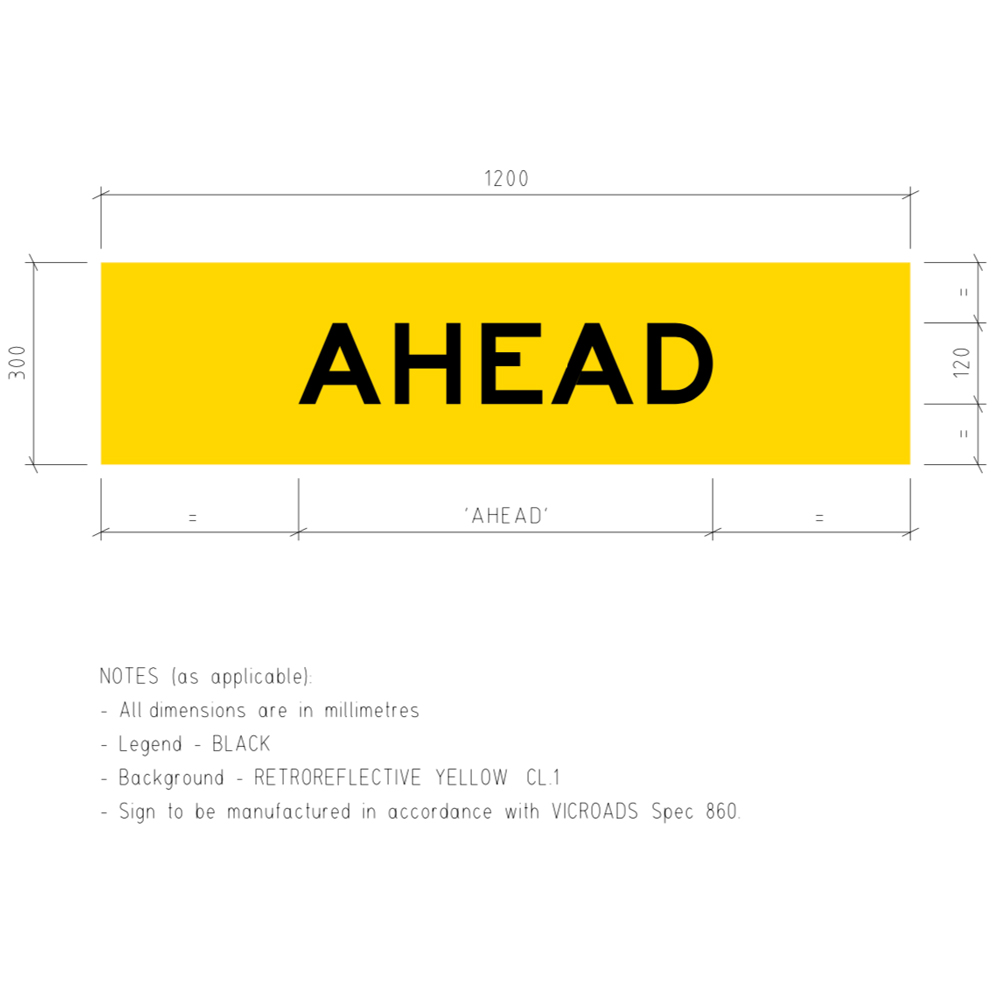 TM1-V105 Ahead Corflute Temporary Traffic Control