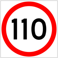 110 Speed Limit (600x600x6mm) Corflute Sign