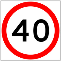 40 Speed Limit (600x600x6mm) Corflute Sign