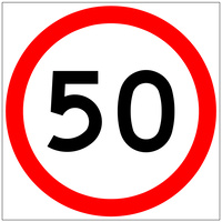 50 Speed Limit (600x600x6mm) Corflute Sign