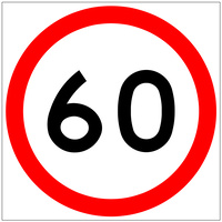 60 Speed Limit (600x600x6mm) Corflute Sign