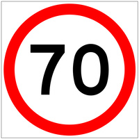 70 Speed Limit (600x600x6mm) Corflute Sign