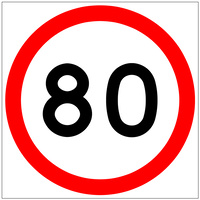 80 Speed Limit (600x600x6mm) Corflute Sign