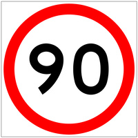 90 Speed Limit (600x600x6mm) Corflute Sign
