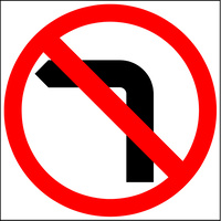 No Left Turn (600x600x6mm) Corflute Sign