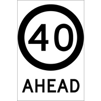 40 Speed Limit Ahead (600x925x6mm) Corflute