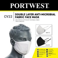 Portwest CV22 2Ply Anti-Microbial Fabric Face Mask