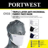 Portwest CV33 3Ply Anti-Microbial Fabric Face Mask