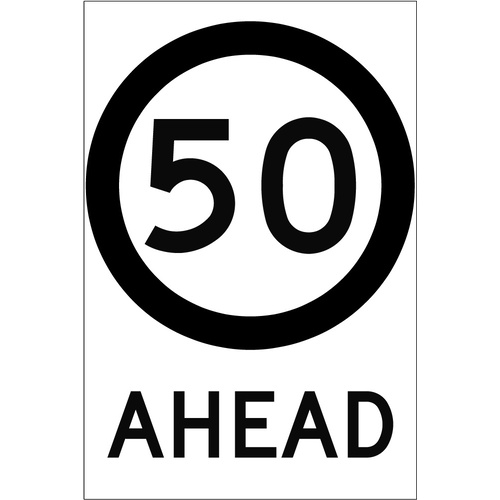 50 Speed Limit Ahead (600x925x6mm) Corflute